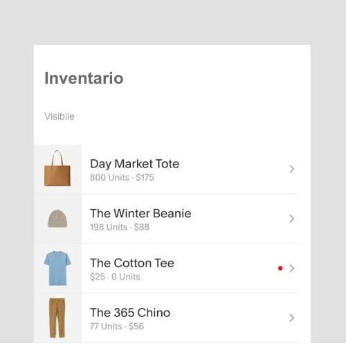 En la sección de Inventario se gestionan los productos para la venta y el stock